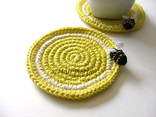 Crochet Coasters Lemon and Bee