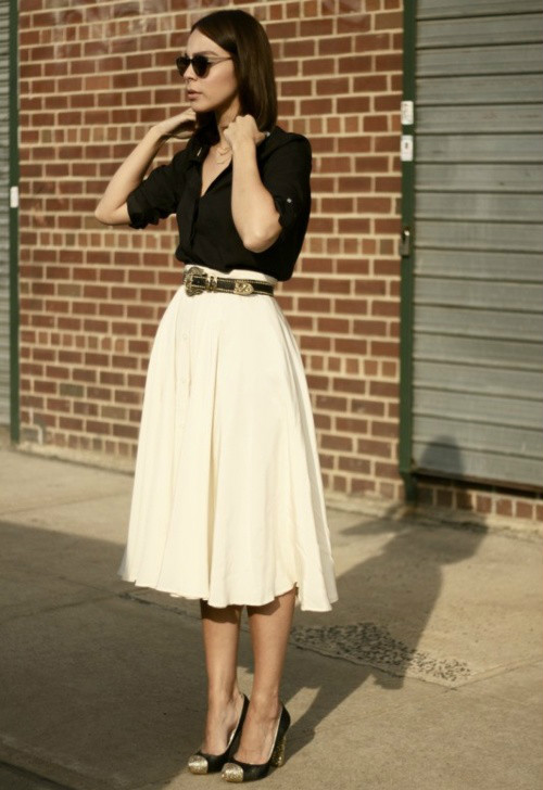 brave skirt outfit with white shoes 16