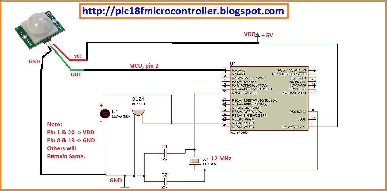 Microcontroller Project Thief Detector Using Pir Motion Sensor And Pic Microcontroller on motion detector circuit diagram