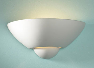 The Vector Uplighter, unglazed wall lamp with uplighting features