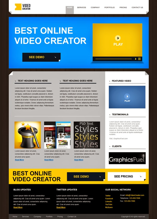 Product Website Template PSD