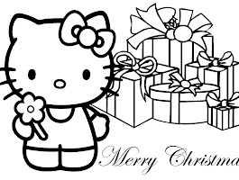 Merry Christmas Hello Kitty Coloring Page