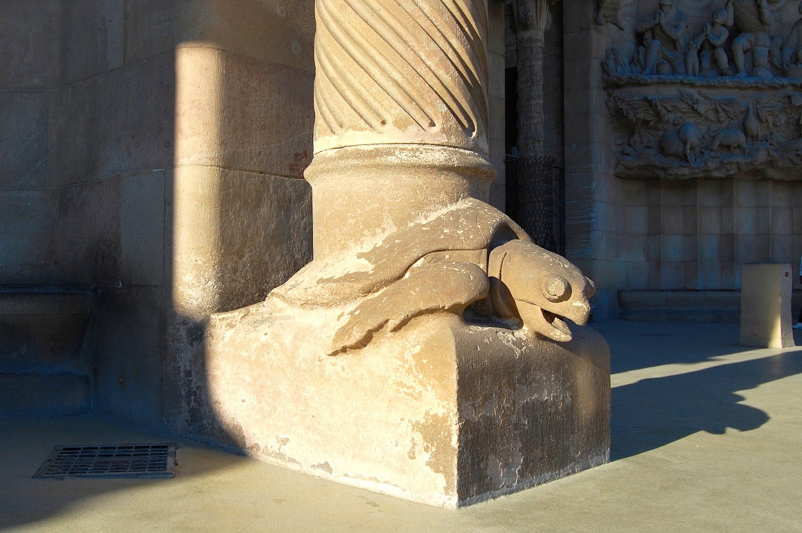 Turtle at base of pillar, Nativity Facade, Sagrada Família