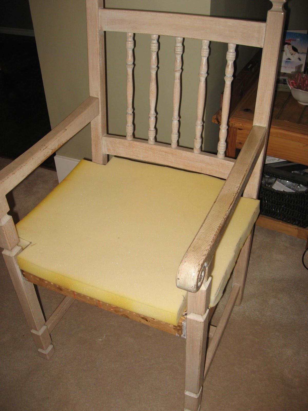 The original fabric upholstery was removed along with all of the