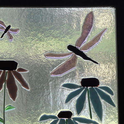 Art Dragonfly Bug Insect Flight Flying Hanging Flower Fused Stained Glass Window Panel