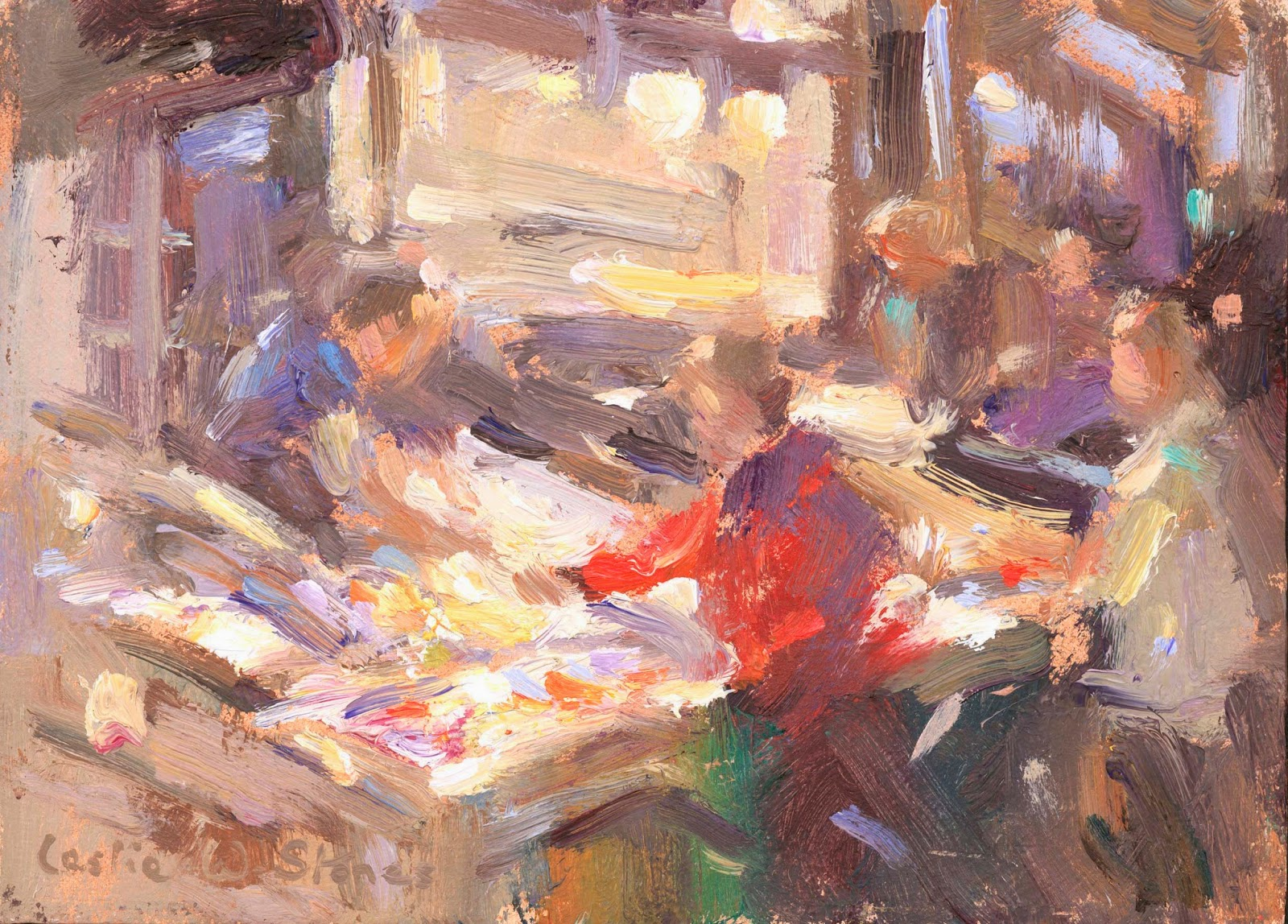 Loosely painted fish market oil painting