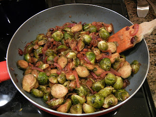 Brussel sprouts, purple onions and golden raisins!