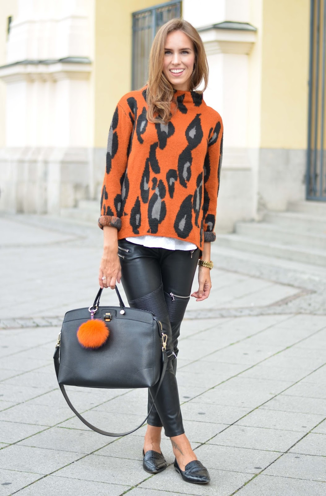 kristjaana mere leopard cardigan leather pants fall 2015 outfit street style