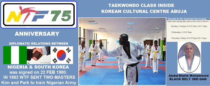 TAEKWONDO TRAINING SCHEDULE INSIDE KOREAN CULTURAL CENTRE, ABUJA