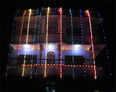 A beautifully decorated house in Diwali