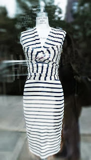 Striped, jersey pencil dress at Roslyn.