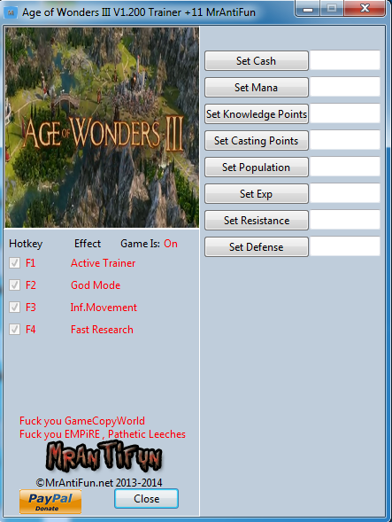 Age of Wonders III V1.200 Trainer +11 MrAntiFun