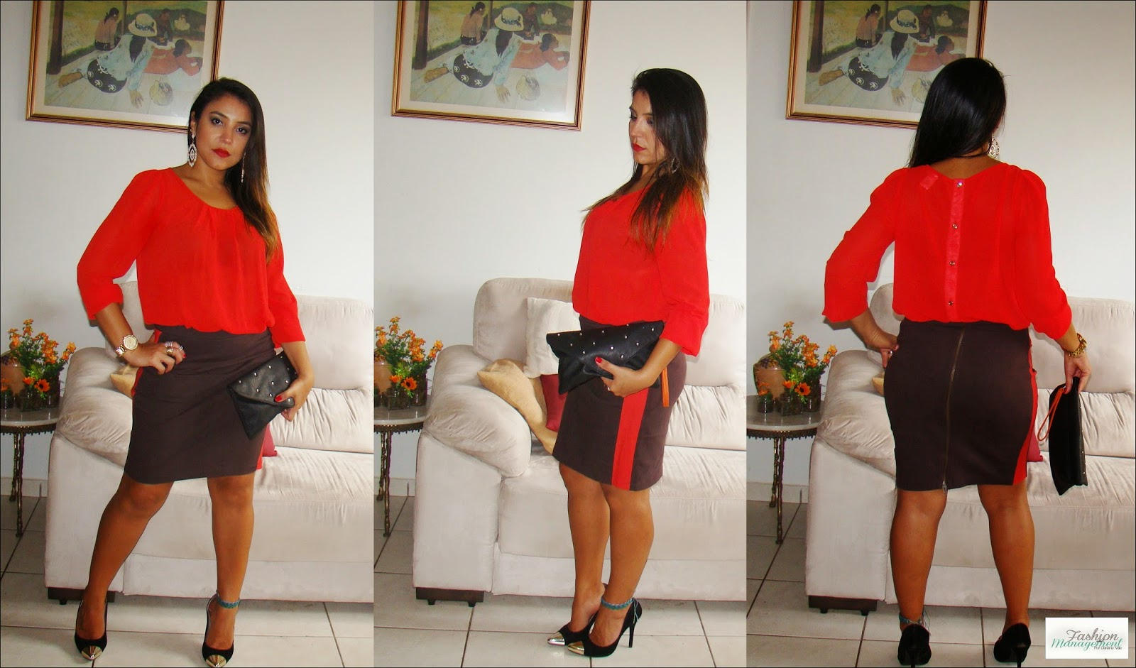 Camisa Vermelha + Saia Marrom