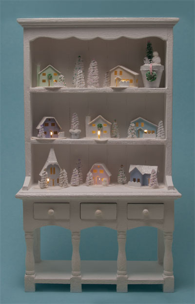 dollhouse lighting. This Hutch, Decorated By After Dark Miniatures, Contains 8 Glitter Houses With LED Lighting. A Battery And Switch Are Located On The Back Of Hutch. Dollhouse Lighting R