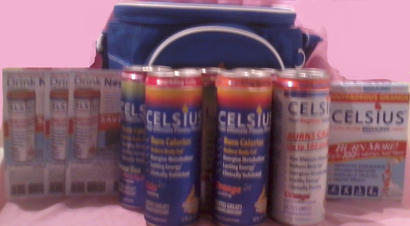 blue cooler stuffed full with 6 differently flavored energy drinks ...