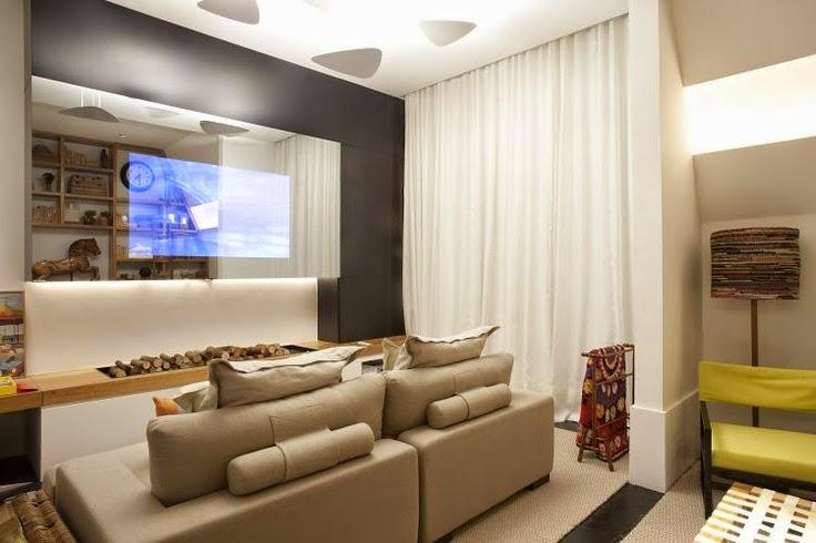 Lareira Na Sala De Tv ~ 20 Salas de tv com lareira – tendência do momento! Veja modelos e