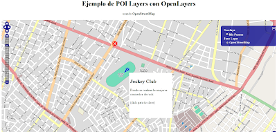 Imagen de un ejemplo de OpenLayers usando POI layer