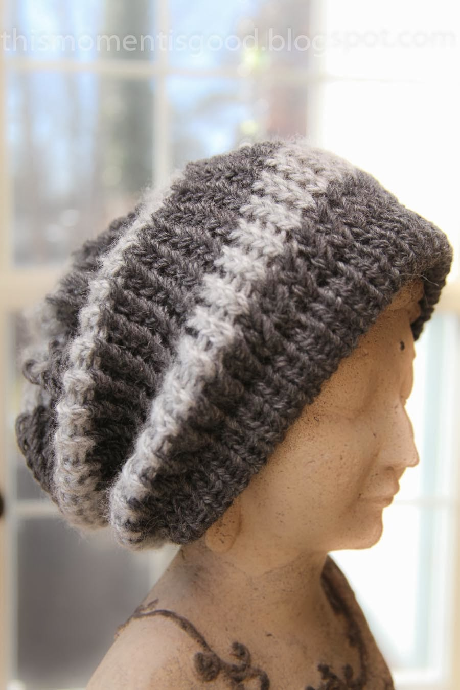Loom Knitting by This Moment is Good!: LOOM KNIT STRIPED SLOUCH HAT