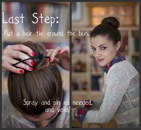 step by step how to make a reindeer sock bun