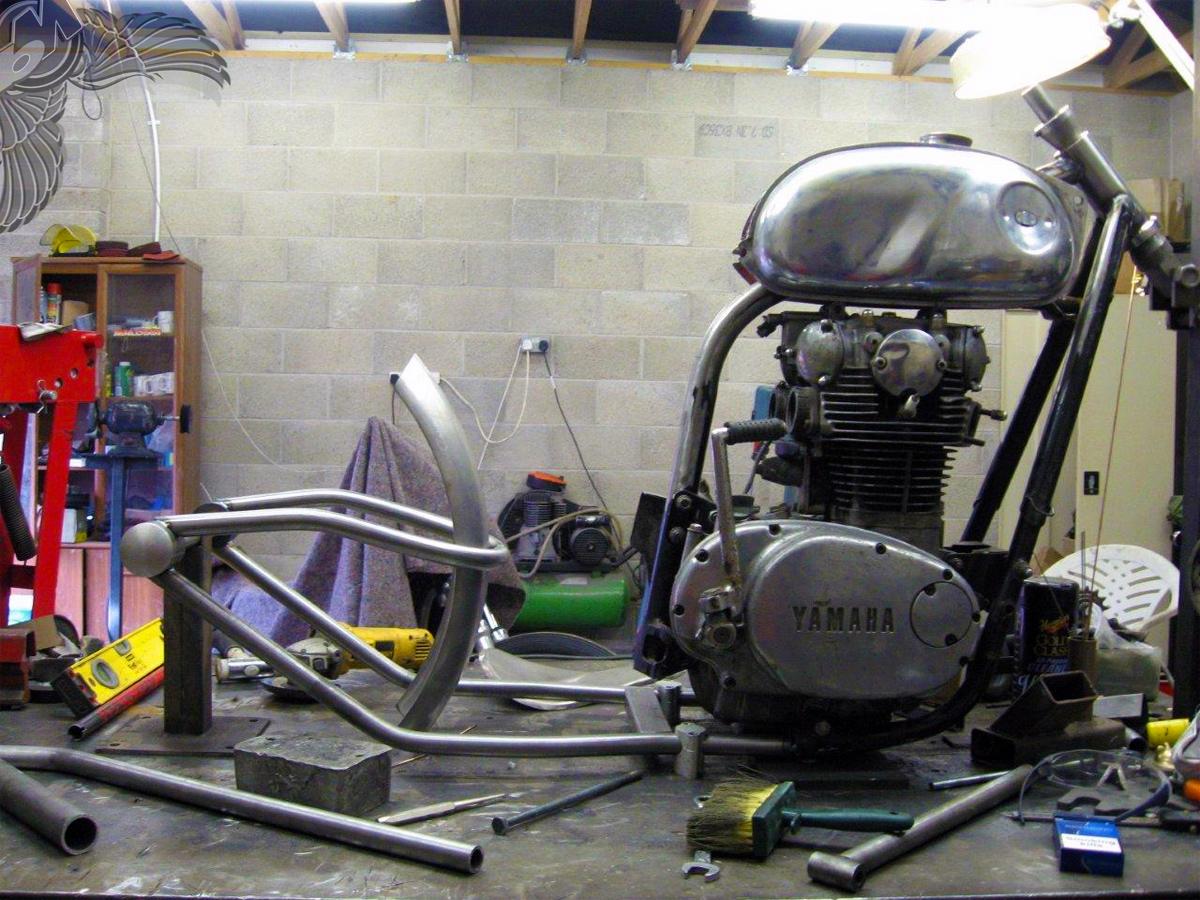 xs650 bobber in progress   bobbed to the bone
