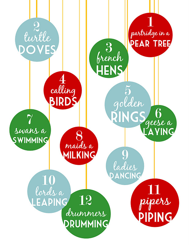 Sugartotdesigns 12 days of christmas free printable for 12 days of christmas decoration theme