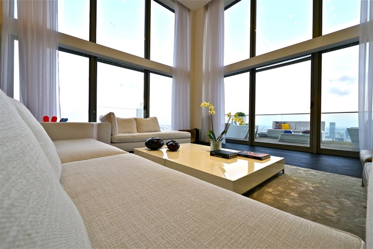 White sofa in penthouse living room
