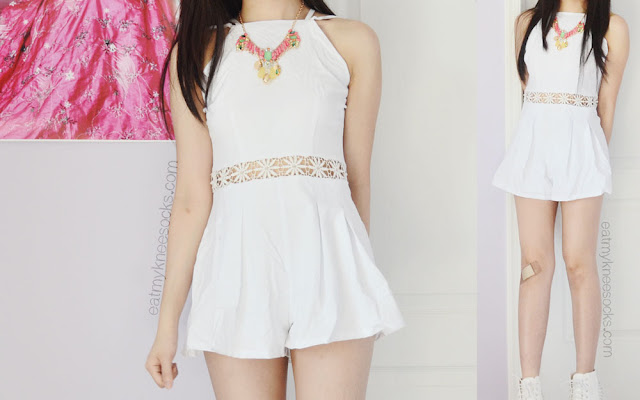 More photos of this summery outfit, featuring Fanewant's white crochet romper and Bezel Box's pink statement necklace.