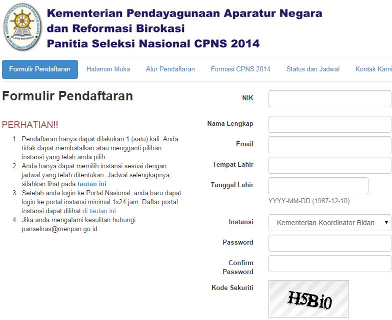 Proses Cara Pendaftaran CPNS Kemendikbud 2014 di Website Panselnas