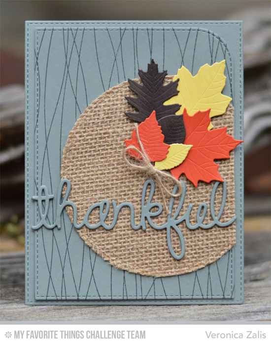 Thankful Leaves Card by Veronica Zalis featuring the Falling Leaves and Words of Gratitude Die-namics #mftstamps