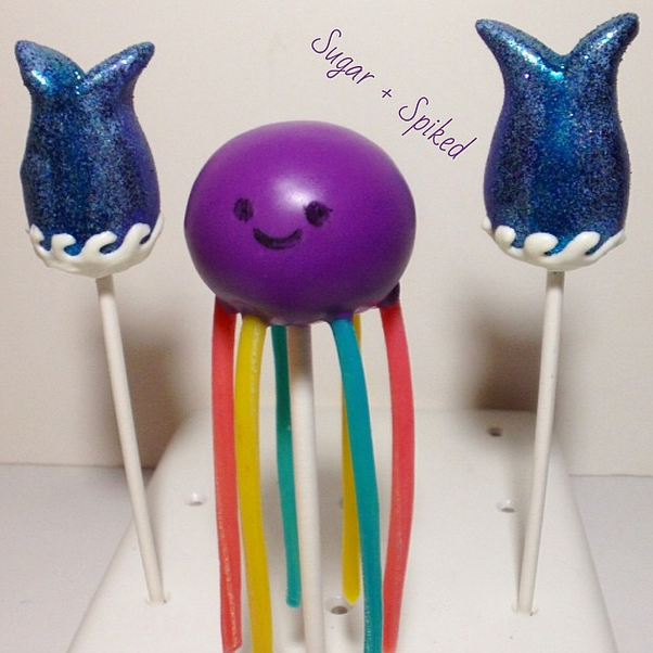 An adorable octopus cake pop and mermaid tail pops from Sugar and Spiked