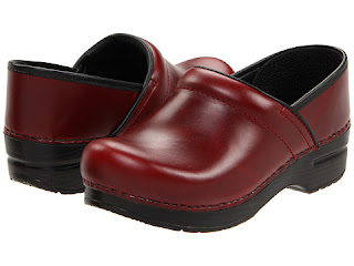 red Dansko professional clogs