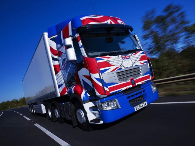 fotos de camiones renault premium bandera reino unido union jack