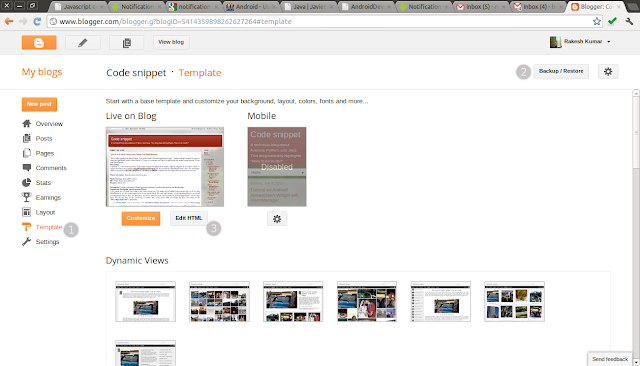Template dashboard of blogger for integrating prettify