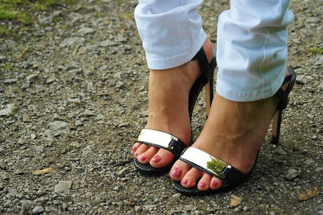 black snakeprint heels