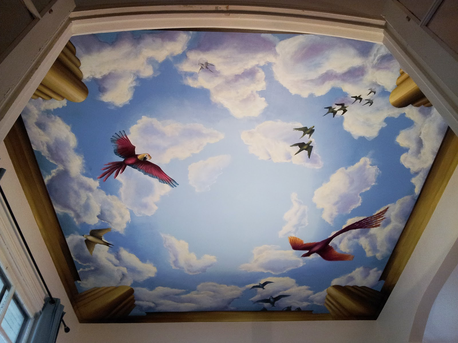 L star murals ceiling mural with birds chicago il for Ceiling sky mural