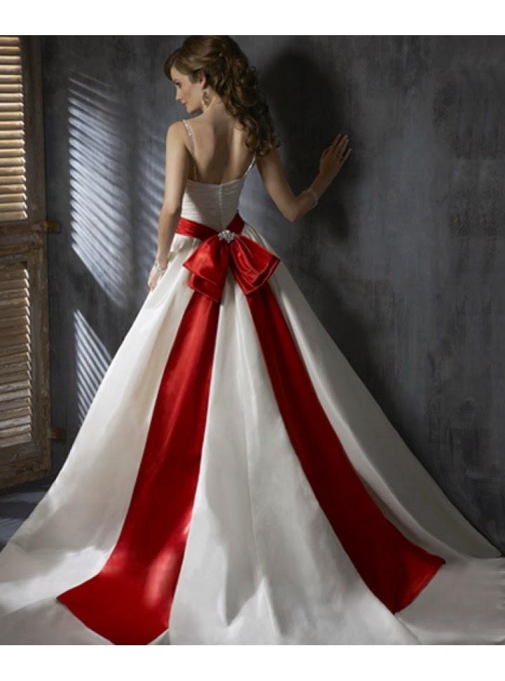 Vestido de Novia Corte A, Sin Mangas, con Drapeado Entrecruzado, Bolsillos y Cinturon Rojo