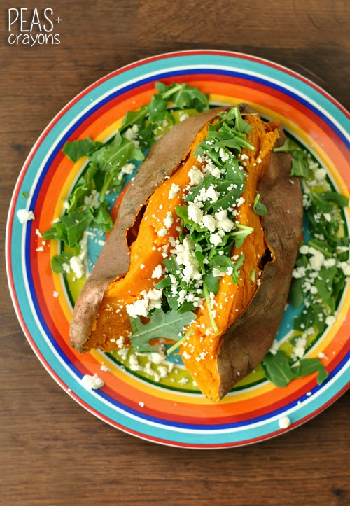 Stuffed Sweet Potatoes with Arugula and Feta