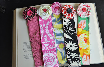 fabric flowers bookmarks