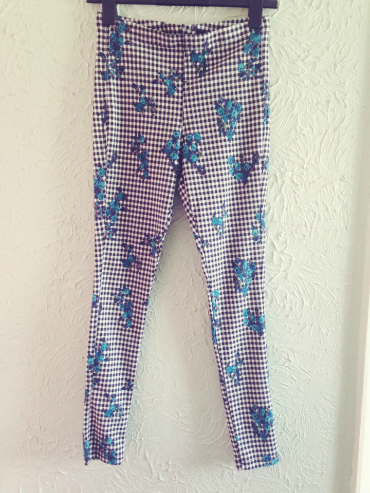 Topshop Floral Gingham Leggings