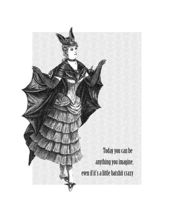 vintage illustration of a woman dressed like a bat  sc 1 st  Itu0027s About Art and Design & Itu0027s About Art and Design: Batlady Crazy Costume Poster