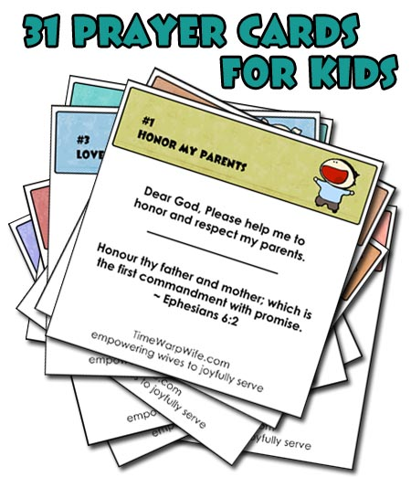 photograph regarding Printable Prayer Cards named Absolutely free Printable! 31 Prayer Playing cards for Young children - Period-Warp Spouse