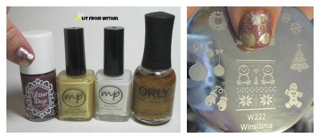 What I used:  GlitterDaze Jungle Fever, MPolish Sweet Clover and Snowberry, Orly Bling, and Winstonia plate W222.
