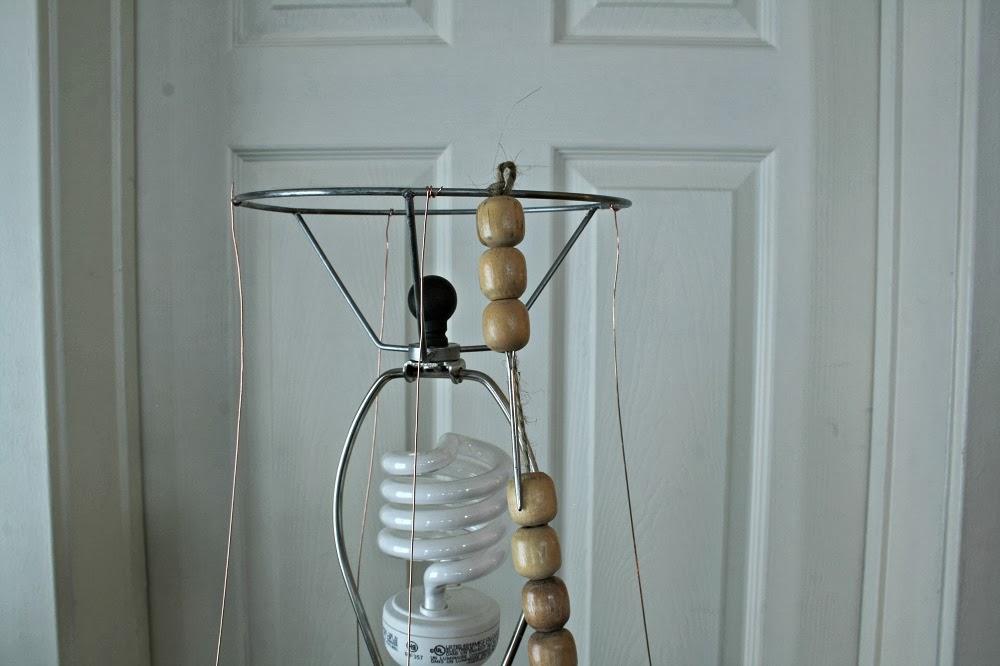 DIY chandelier lamp shade, wood beads, repurposed seat covers