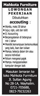 Lowongan Kerja Lampung di Toko Mahkota Furniture