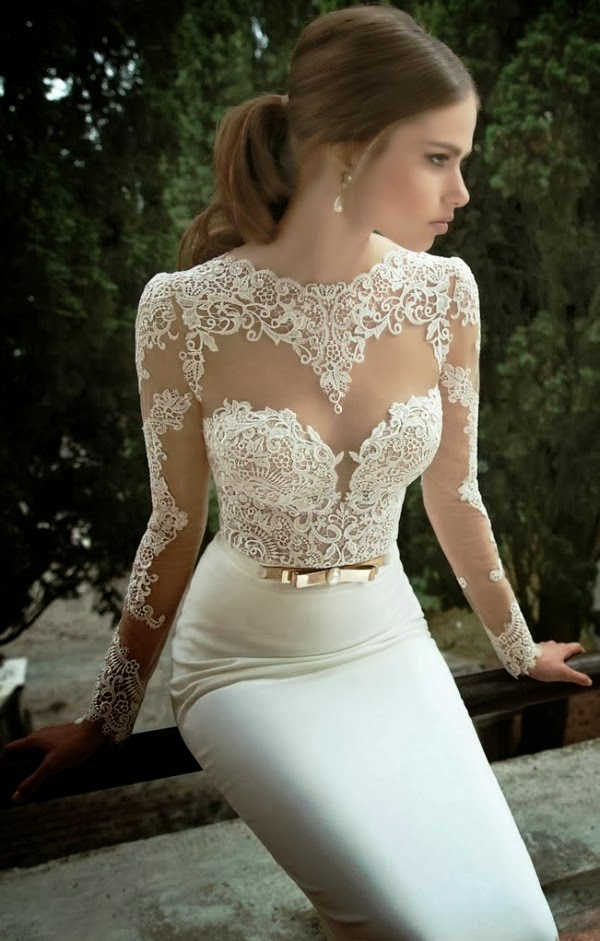 Gorgeous Floral Lace Detail Wedding Dress, Amazing Dress