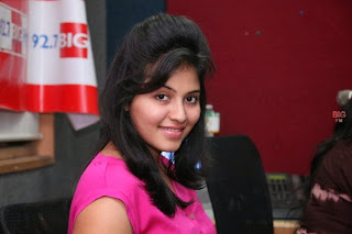 Actress Anjali Pictures in Pink Top at 92.7 BIG FM for Masala Movie Promotion  0046