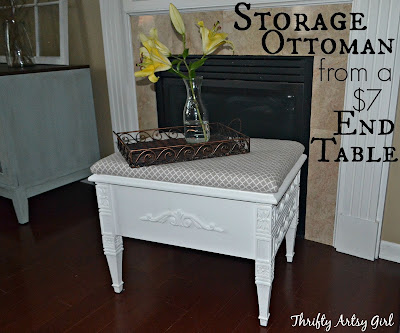 How to make elegant ottoman from end table diy