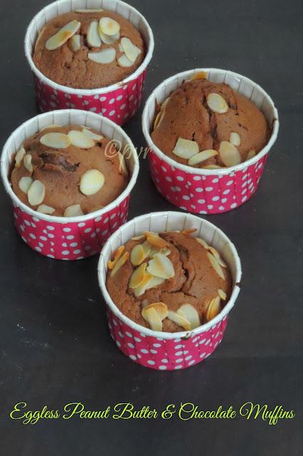 EgglessPeanut Butter & Chocolate Muffins
