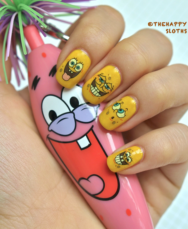 Spongebob nails manicure featuring spongebob water decal nail spongebob nails manicure featuring spongebob water decal nail stickers prinsesfo Image collections