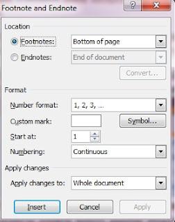 footnote di word, membuat catatan kaki, microsoft word 2007, tips